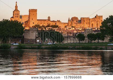 Avignon Cathedral at sunset. Avignon Provence-Alpes-Cote d'Azur France.