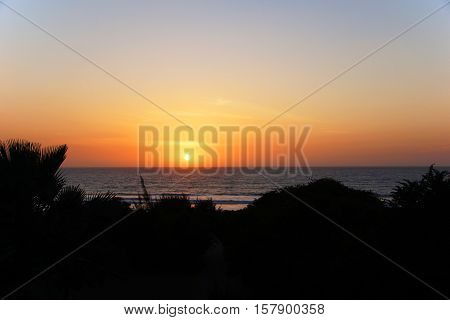 sunset over the Atlantic ocean in Gambia West Afrika