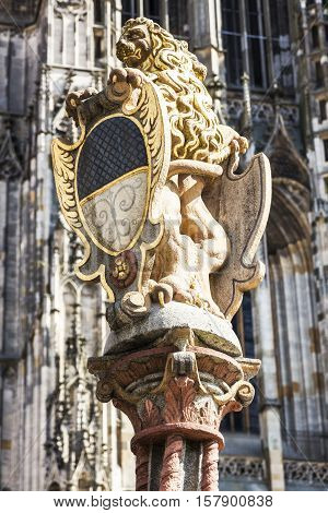 Lion Fountain and Ulm Minster. Ulm Baden-Wurttemberg Germany.