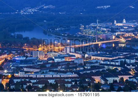 Linz panorama at night. Linz Upper Austria Austria.