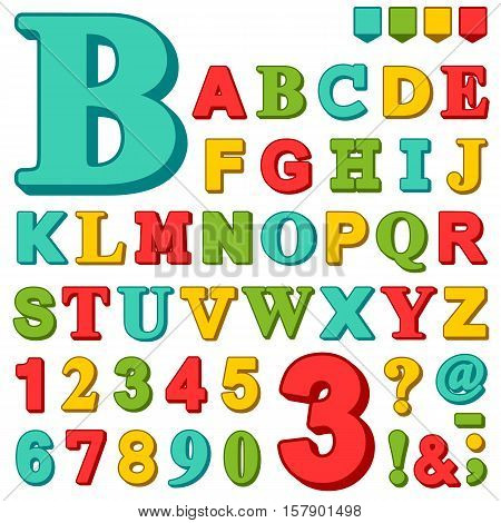 Brightly colored complete upper case set of alphabet letters and numbers in red green blue and yellow with assorted punctuation marks vector illustration design elements