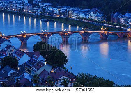 Karl Theodor Bridge in Heidelberg. Heidelberg Baden-Wurttemberg Germany.