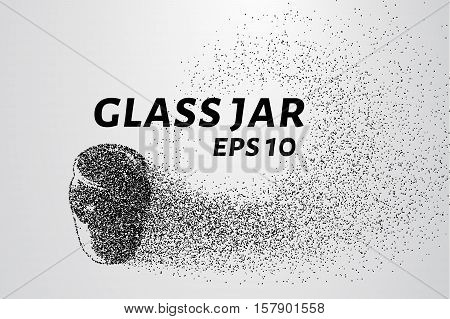Glass jar of particles. Glass jar consists of circles and points. Vector illustration.
