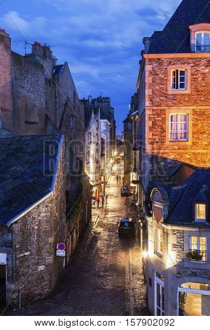 St-Malo - street in old town. St-Malo Brittany France.