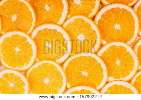 Orange Fruit Background. Summer Oranges. Healthy Food Concept