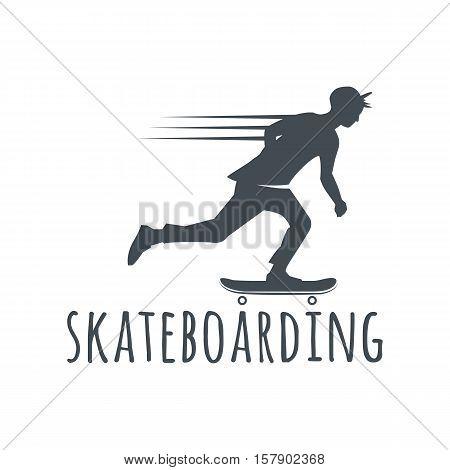 Longboard retro emblems. Graphic design for t-shirt. Dark print on white background