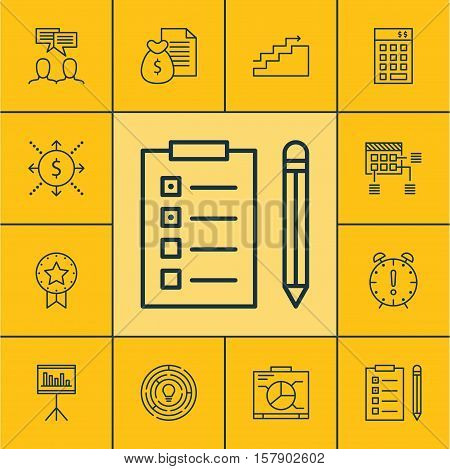 Set Of Project Management Icons On Board, Reminder And Innovation Topics. Editable Vector Illustrati