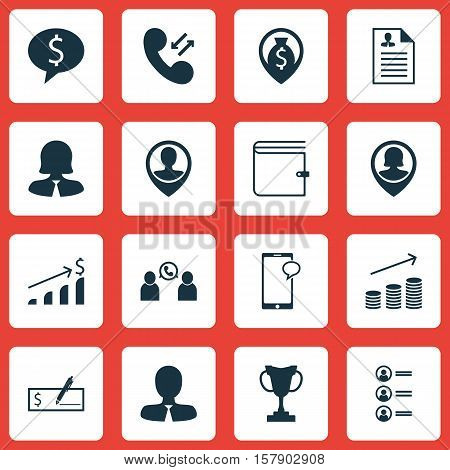 Set Of Management Icons On Successful Investment, Coins Growth And Cellular Data Topics. Editable Ve