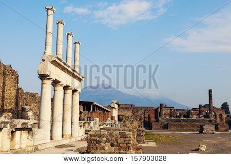 Pompei ruins and Vesuvio. Pompei Campania Italy.