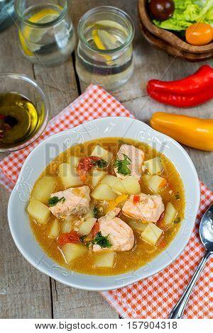 Marmitako Basque country tuna pot salmon stew with potatoes
