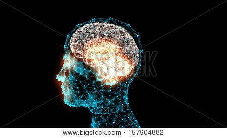 Transparent human head with a brain in 3d space. Blue abstract futuristic medicine, science and technology background illustration. Depth of field settings. 3D rendering.