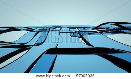Blue translucent glass bands waving. Abstract technology, science and engineering background illustration. 3d rendering.