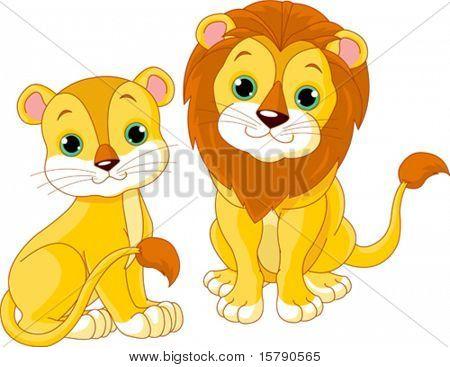 Illustration of cute lion couple