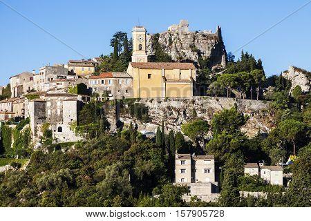 Distant Eze panorama. Eze Provence-Alpes-Cote d'Azur France.