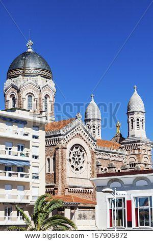 Basilique Notre Dame de la Victoire in Saint-Raphael. Saint-Raphael Provence-Alpes-Cote d'Azur France.