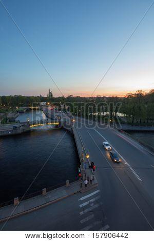 Panteleymonovsky bridge, channels, park at evening in St. Petersburg, Russia