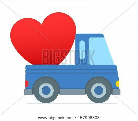 Cartoon truck colored blue zooms along delivering over sized heart in the trunk against a white background vector illustration
