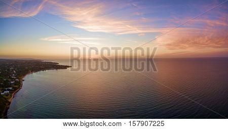 Aerial Panorama Of Beautiful Sunset Over Mornington Peninsula Coastline,, Australia.