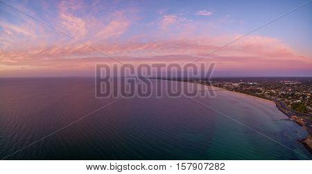 Aerial Panorama Of Beautiful Sunset Over Mornington Peninsula Coastline Near Frankston Suburb,, Aust