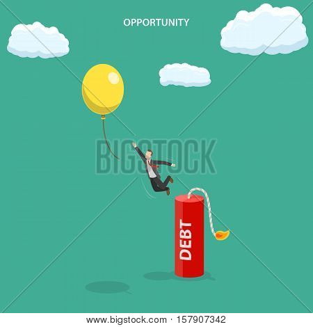 Opportunity isometric flat vector illustration. Man is jumping out of the dynamite stick with the caption DEBT to fly out at the balloon.