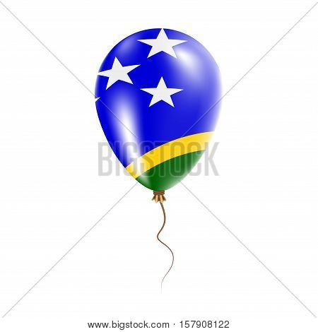 Solomon Islands Balloon With Flag. Bright Air Ballon In The Country National Colors. Country Flag Ru