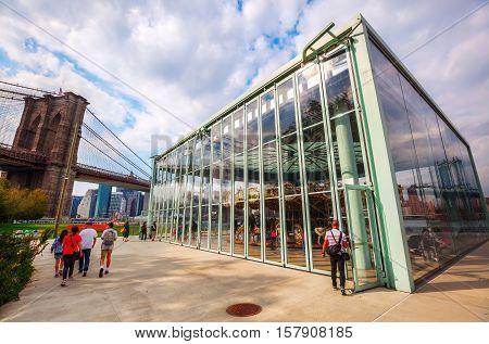 Janes Carousel In Brooklyn Bridge Park, Nyc