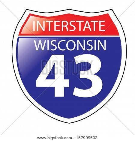 Layered artwork of Wisconsin I-43 Interstate Sign