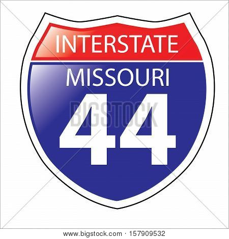 Layered artwork of Missouri I-44 Interstate Sign