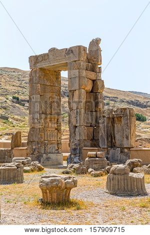 Ruins of old city Persepolis, a capital of the Achaemenid Empire 550 - 330 BC.