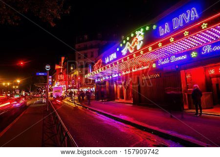 Night Scene In Pigalle District In Paris
