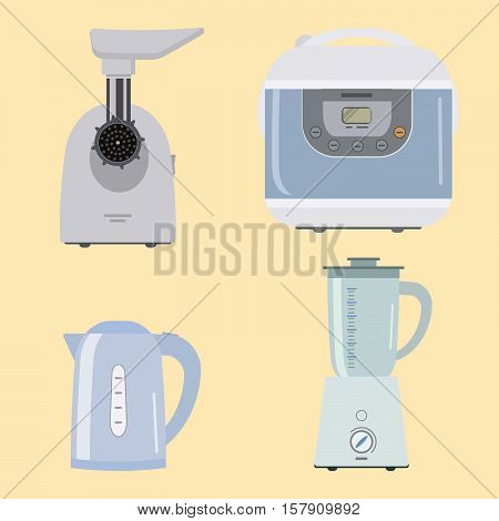 Set of kitchen equipment on a beige background. There is a meat grinder, crock pot, kettle and blender in the picture. Vector flat illustration