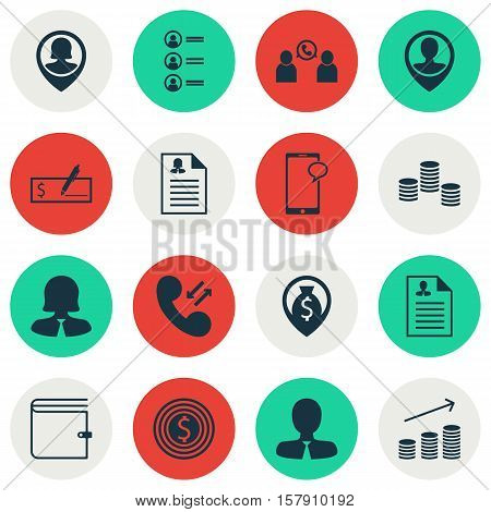 Set Of Human Resources Icons On Manager, Cellular Data And Money Navigation Topics. Editable Vector