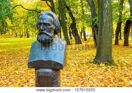 ST PETERSBURG RUSSIA - OCTOBER 3 2016. Bust of famous Russian artist Alexander Ivanov in Mikhailovsky Garden in St Petersburg Russia. A. Ivanov painted canvases of biblical and mythological stories