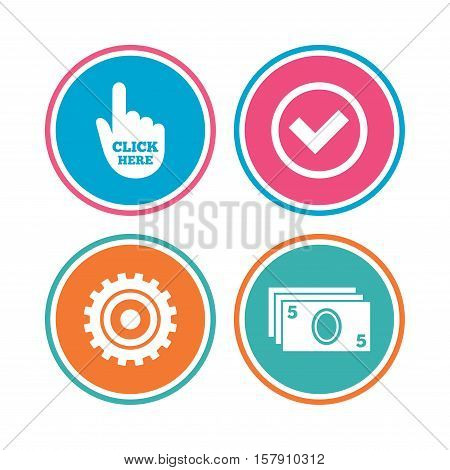 ATM cash machine withdrawal icons. Click here, check PIN number, processing and cash withdrawal symbols. Colored circle buttons. Vector