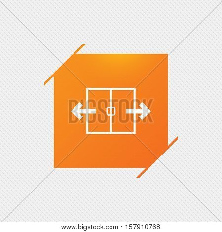 Automatic door sign icon. Auto open symbol. Orange square label on pattern. Vector