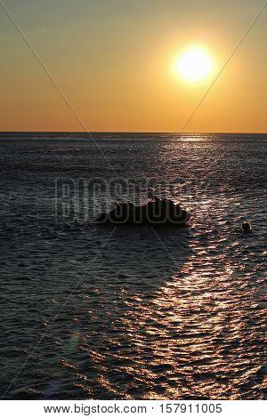 Beautiful Sunset Over Calm Sea. Majestic Summer Sunset Over The Sea.