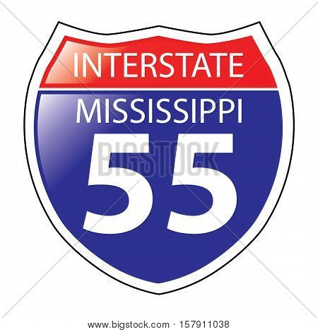 Layered artwork of Mississippi I-55 Interstate Sign