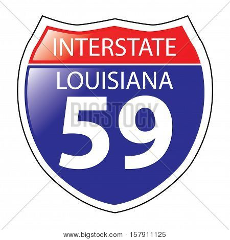 Layered artwork of Louisiana I-59 Interstate Sign
