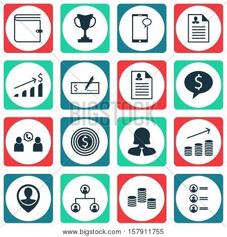Set Of Human Resources Icons On Money, Messaging And Coins Growth Topics. Editable Vector Illustrati