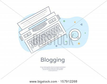 Premium Quality Hand drawn Line Icon And Concept Set: Retro Typewriter, Blogging, Coffee.