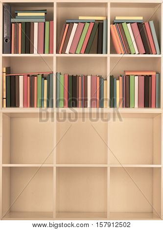 Empty and full Bookcase library. Toned Image