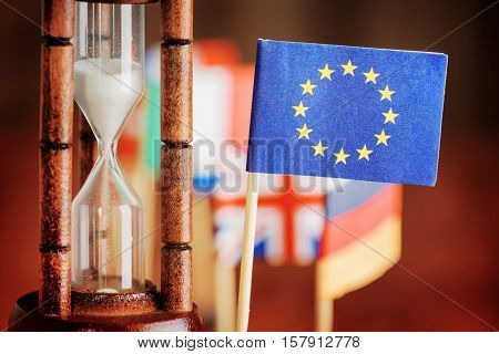 Hourglass And Flag Of The European Union. Time Is Running Out