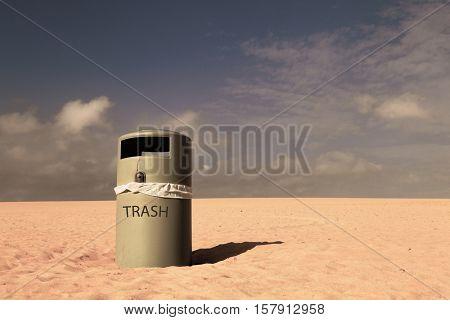 Trash can in desert nature landscape. Toned Image