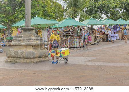 OLINDA, BRAZIL, JANUARY - 2016 - People at street market fair in Olinda town at Pernambuco Brazil
