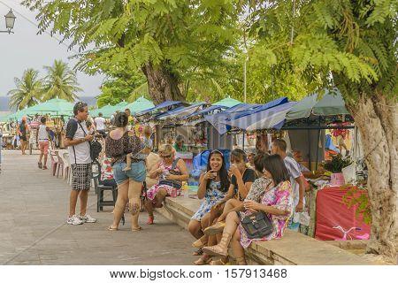OLINDA, BRAZIL, JANUARY - 2016 - Poeple at street market fair in Olinda town at Pernambuco Brazil