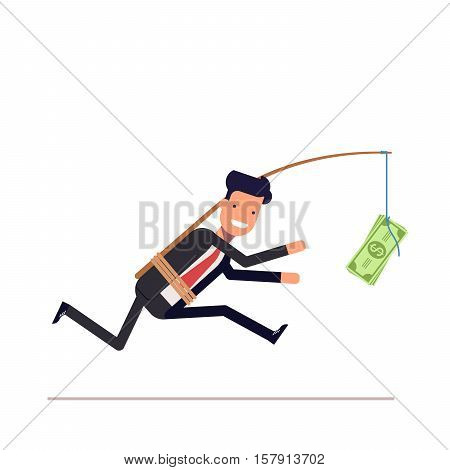Businessman or manager is running after money. Greedy man in a business suit with attached rod and dollar. Vector, illustration EPS10