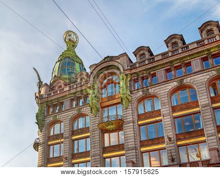 Closeup of Singer -Zinger- House on Nevsky Prospect in the historic center of Saint Petersburg Russia. Also widely known as the House of Books.