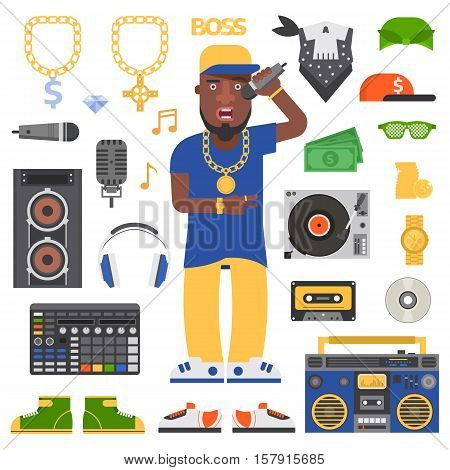 Hip hop man musician with microphone breakdance expressive rap portrait. Modern young hip hop man fashion person adult people. Hip hop man dancer trendy lifestyle urban handsome black rapper guy.