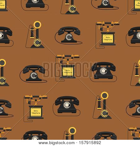 Modern telephones and vintage telephones isolated sealess pattern. Classic telephones technology support symbol, retro telephones mobile equipment.