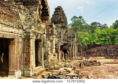 Enigmatic Ruins Of Ancient Bayon Temple, Angkor Thom, Cambodia
